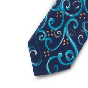 blue and turquoise handpainted tie